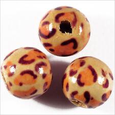 Lot de 20 Perles rondes en Bois 14mm Motif Léopard