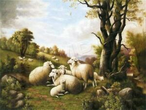 "VINTAGE VICTORIAN SHEEP RURAL LANDSCAPE LAMB *CANVAS* FARM ART PRINT 11"" x 8.5"""