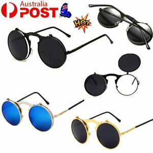 Retro Vintage Steam punk Metal Round Sun Glasses Flip up Sunglasses Spring GD