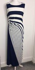 M&S Colección Tamaño 12p Navy & Cream Stripe Jersey Elástico Vestido Maxi del Verano