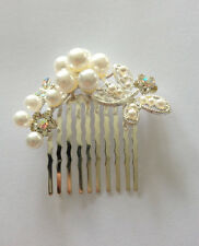 Pearls And Rhinestones Butterfly Bridal Hair Comb. Bridal Headpice.