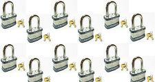 Lock Set by Master 1KALF (Lot of 12) KEYED ALIKE Long Shackle Laminated Padlocks