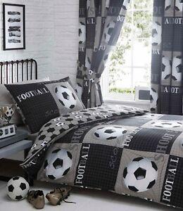 Shoot Football Boys Reversible Duvet Cover Bedding Set Single or Curtains Grey