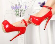 Plus Size Over High Heels Womens Pumps Platform Ankle Strap Nightclub Dance Shoe