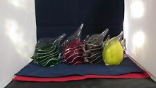 Handmade Glass Tropical Banner Fish Figurine Set of Four