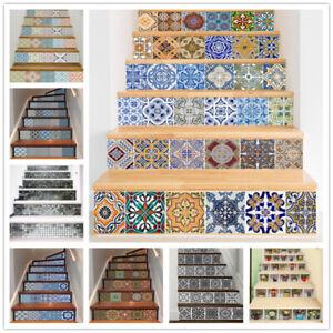6pcs Boho Art Pattern Stair Sticker Self Adhesive Staircase Decal Wallpaper DIY