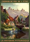 "Vintage Illustrated Travel Poster CANVAS PRINT France Mayenne 24""X16"""