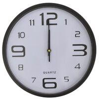 28cm Black Round Wall Clock Raised Frame Quartz Movement