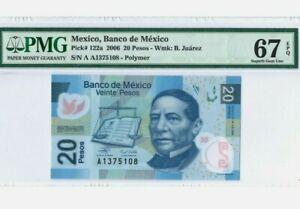 """2006 MEXICO 20 Pesos PMG67 EPQ SUPERB GEM UNC【P-122a】""""Serie A"""" (Prefix A)Polymer"""