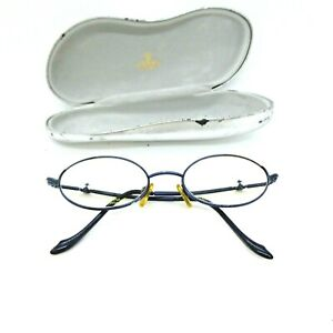 Vintage Vivienne Westwood Glasses 135 Blue Metallic Frames Small Oval with Case