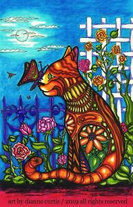 Zentagle Cat - ACEO Whimsical Garden Art PRINT from original ink drawing dcurtis