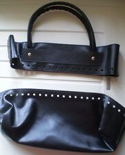 KnitPro Faux Leather Sew-On Bag Kit - Top and Bottom - Black