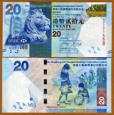Hong Kong, $20, 2014, HSBC, P-212d, UNC > Lion, Children