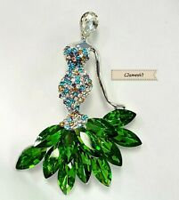 Made with Crystals from Swarovski Holiday Gown Green Dress Brooch Pendant