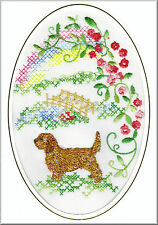 Basset Fauve De Bretagne Rainbow Bridge Card Embroidered by Dogmania