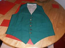 """Vtg Gentleman's Bespoke Green Adjustable waistcoat sz 42"""""""