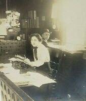 Antique Edwardian photograph Office Workers Type writer Company Photo