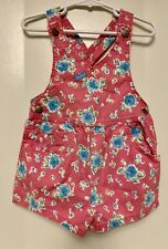 Vtg 3T OshKosh B'gosh Pink Big Print Floral Girls shortalls Romper Vintage Usa