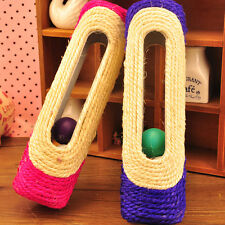 Pet Cat Dog Toys Long Rolling Sisal Scratching Post Scratcher 3 Trapped Balls