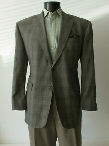 Hand Made Sport Coat Taupe Gray Plaid Wool 44S Surgeons Cuffs Rubinacci Tie