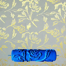 7inch Embossed Peony Pattern Painting Roller Brush Wall Decor DIY Tool Blue