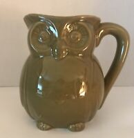 "Ceramic Owl Mug Olive Green 5"" Tall 4"" Side To Side No Markings"