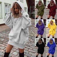 Women Long Sleeve Pockets Hoodie Sweatshirt Jumper Dress Pullover Casual Blouse