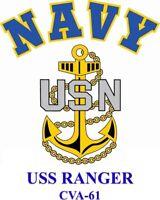 USS RANGER CVA-61*  AIRCRAFT CARRIER U.S NAVY W/ ANCHOR* SHIRT