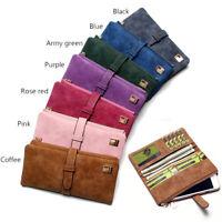 Women Lady Suede Leather Long Wallet Card Holder Purse Handbag Fashion Clutch