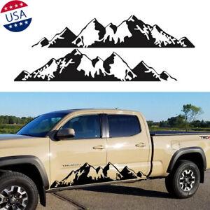 2x Black Snow Mountain Car Side Skirt Body Decal Vinyl Sticker Truck Pickup RV