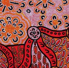 AUSTRALIAN ABORIGINAL ART QUILT FABRIC - WOMEN DREAMING 2 YELLOW  by FQ or Metre