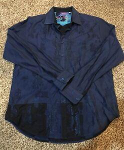 Robert Graham Men's Long Sleeve Shirt Cotton Classic Fit Button Down Size M