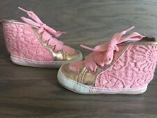 Juicy Couture Baby Girl  Metalic/coral High Top Sneakers Sz 4(9-12 Month) $58