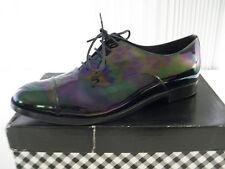 $398 New Delman Tyler Sz 9.5 m Black Petrol Patent Leather Oxford Womens Flats
