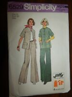 Jacket Wide Leg Pants Simplicity 6529 Size 14 Jiffy VTG Uncut FF Sewing Pattern