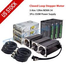 3 Axis 12nm Nema 34 Closed Loop Stepper Motor Servo Driver Kit For Cnc Engraving