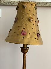 """Currey & Company 6317 Gold Bronze 33"""" Buffet Table Lamp Floral Embroidered Shade"""