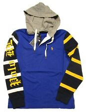 Polo Ralph Lauren Men's Big & Tall Royal Multi Colorblock L/S Rugby Hooded Shirt