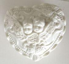 White Cherub Angel Porcelain Trinket Box Holder Home Decor Shabby Cottage Chic