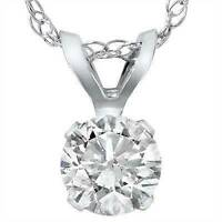 Big 3/4ct Diamond Solitaire Pendant 14K White Gold Womens Necklace