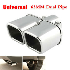 Universal Stainless Steel Car Exhaust Dual Pipe Tip End Tail Muffler 63mm Chrome