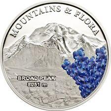 2014 Palau Large Silver Proof Color $5-Mountains & Flora Broad Peak