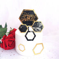 3pcs Cake Topper Hexagon Acrylic Happy Birthday Party Decoration Supplies New UK