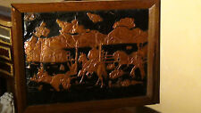ANTIQUE 19C AMERICAN COPPER RELIEF WALL PLAQUE FARM SCENE WITH COWBOYS & HORSES