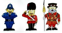 London Bobby & Queens Guards - English Souvenir - Window & Bumper Sticker Pack.