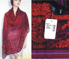 "VERSACE crimson Baroque FLOWERS Cashmere blend Lrge 52"" Pashmina scarf NWT Auth"