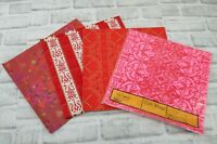Lot of Vintage Gift Wrap Paper Red Heart Pink Flocked 5 Sheets Crafts