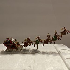"""""""Santa With His Reindeer"""" Christmas Village Accessory Hawthorn Village. Inv#1515"""