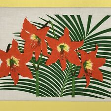 Tiger Lily Screen Print on Linen Vintage Wall Art Signed Vibrant Tropical Floral