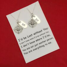 "2 Best Friend Compass "" I'd be lost without you."" Silver Necklace Set. Couples"